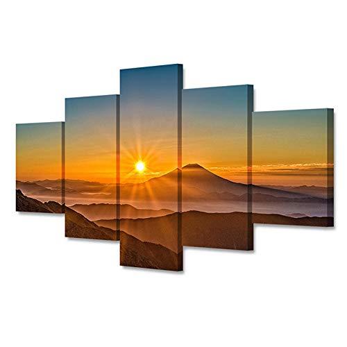 YUANJUN Yuanjunlinnen wanddrukken, 5 stuks, mountainbike, landscape, canvas, schilderijen, ruimtedecoratie, print, posters, muurkunst