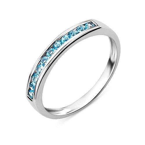 Miore Ring Damen Weißgold 9 Karat / 375 Gold Blauer Topas