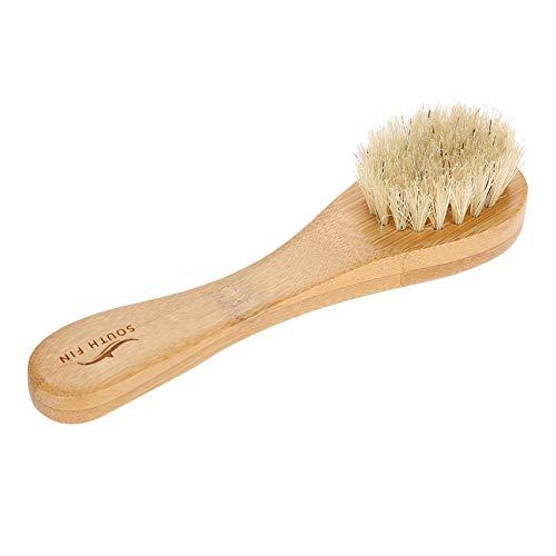 Cepillos faciales para limpieza y exfoliación de cerdas suaves naturales Mango de madera Cepillado facial Limpieza de la piel Cepillo depurador para hombres Mujeres