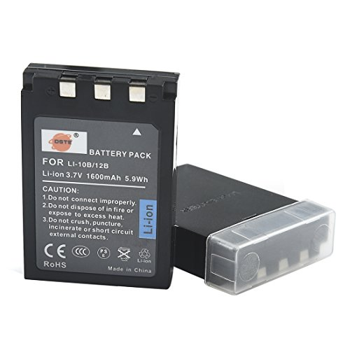 DSTE 2-Pieza Repuesto Batería para Olympus LI-10B C-50 C-60 C-70 C-470 C-760 C-765 C-770 C-5000 C-7000 D-590 X-1 X-2 X-3 X-500 FE-200 IR-500 Stylus 300 400 410 500 600 800 810 1000
