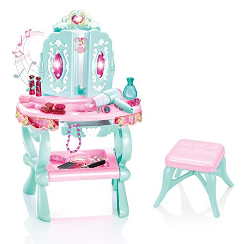 Kids Pretend Play Vanity Set with Lights Sounds, Mirror, Stool Makeup Accessories, Toddler Fantasy Vanity Beauty Dresser Kit, Girls Make Up Table Set (Shipment from USA, Beauty Table)