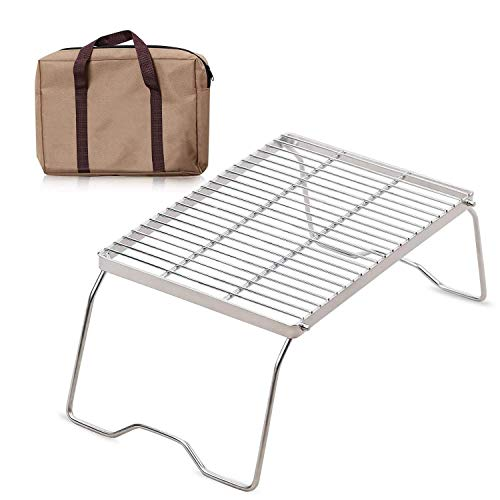 XTSKLY Folding Campfire Grill, Portable and Heavy Duty 304 Stainless Steel Camp Grill Grate, Over Fire Camping Grill with Legs and Carrying Bag for Outside Picnic BBQ, Large