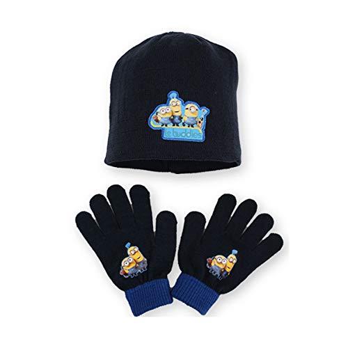 Les Minions - Minion Made Set mit Mütze und Handschuhe für Jungen Gr. One Size, Marine