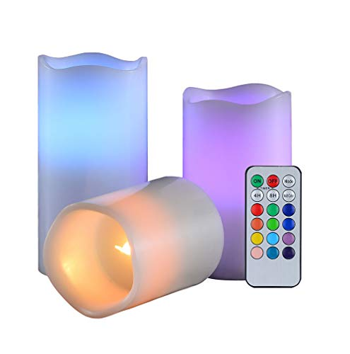 "Candle Set 3pc with Remote Timer Realistic Flameless Home and Kitchen Decor led Electric Real Wax Candles Tealight Pack Battery Operated 3"" 4"" 5"" 12 Colours Changing Make Romace Flikering Night Light"