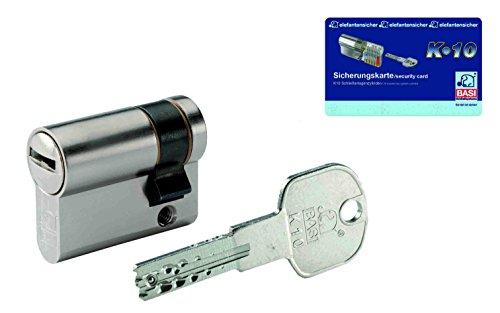 BASI Schließsysteme K10 Halbzylinder 10/85 mm inklusive 3 Schlüssel und Sicherungskarte, 4901-1085m