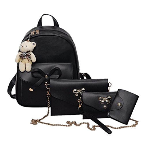 Women Four Sets Backpack Rakkiss,Handbag Shoulder Bags Ladies Purse Casual Leather Tote Bag Crossbody(Four Pieces) (One_Size, Black)
