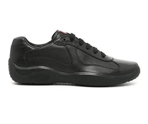 Prada Men's 'America's Cup' Calf Leather Trainer Sneaker, Nero (Black) 4E2043 (9.5)