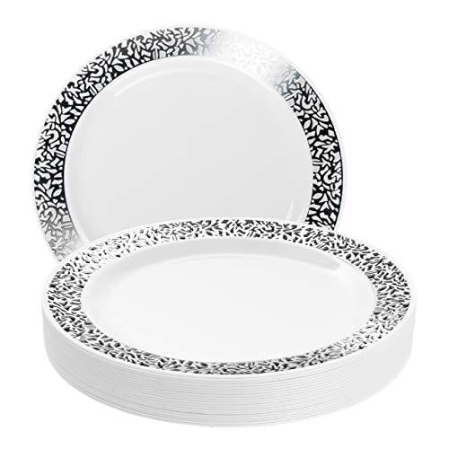 20 Premium Platos Desechables de Plástico Duro con Elegante Borde de Encaje Plateado, 26cm| Durable Lavable y Reutilizable| Vajilla Blanca y Plateada| Bodas Fiestas Cumpleaños.