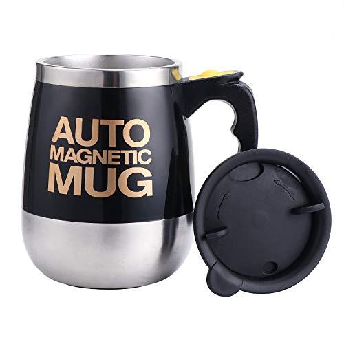 TsunNee Elektrischer selbstrührender Kaffeebecher, Edelstahl, automatisch, magnetisch, für Kaffee, Tee, heiße Schokolade, Milch, Kakao, Protein, 400 ml, Schwarz