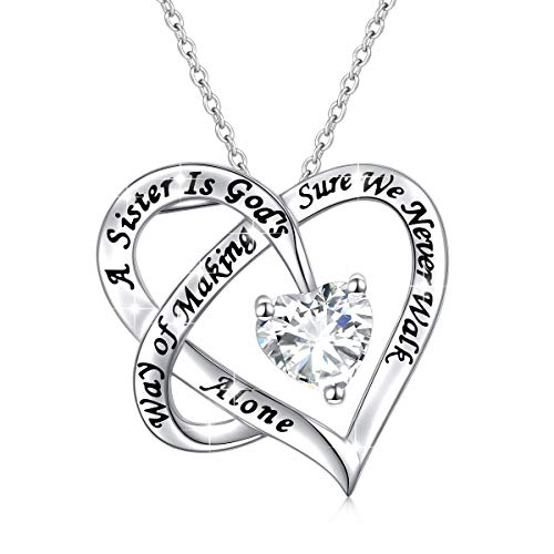 925 Sterling Silver Engraved Always Sister Forever My Friend Heart Pendant Necklace Gift for Women Sisters Siblings Girls,18 inch