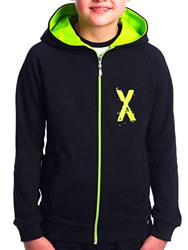 BEZLIT Kinder Jungen Hoodie Kapuzen Pullover Sweatshirt Sweater Sweatjacke Pulli 30237 Schwarz-Hellgrün 164