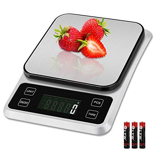 Zorara Balance Cuisine, 5kg/1g Balance de Cuisine, Balance Cuisine Electronique avec Fonction Tare, Balance Alimentaire, Balance de Precision, Balance Electronique avec Écran LCD Rétroéclairé, Argent