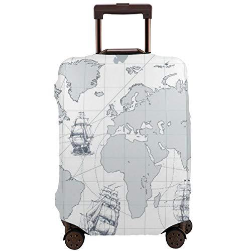 Reiskofferbeschermer, handgetekende vector wereldkaart met kompasanker en zeilschepen in vintage stijl, perfect voor textiel behang en afdrukken, kofferhoes afwasbare bagagehoes