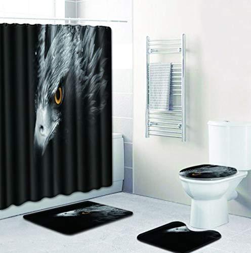 JKYIUBG Badematte Stoff Duschvorhang Set Adler 4er Set Badematten für Wohnkultur Anti Slip Toilettendeckel Rugs-D037-S