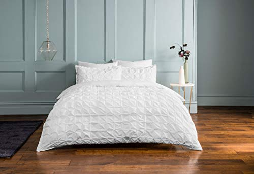 Sleepdown Rouched Pleats Bedding Duvet Set (White, Single Bedding) Duvet Set with Pillowcases