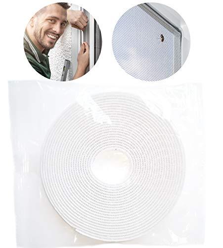 2 rollos de cinta de velcro para mosquitera de ventana, 5 m x 1 cm, autoadhesivo, extrafuerte, estrecho y resistente a los rayos UV, al frío, al calor, cinta de fijación, color blanco