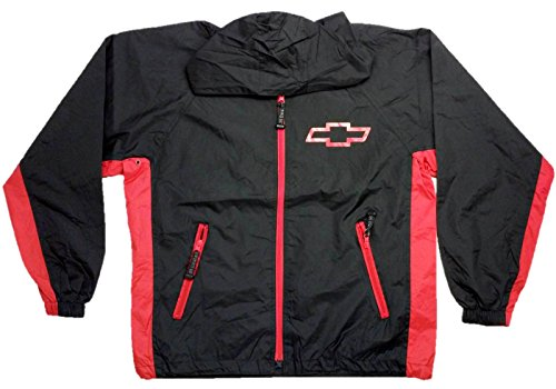 Chevrolet Racing Raincoat Windbreaker Jacket w/ Packing Pouch, Large, Black