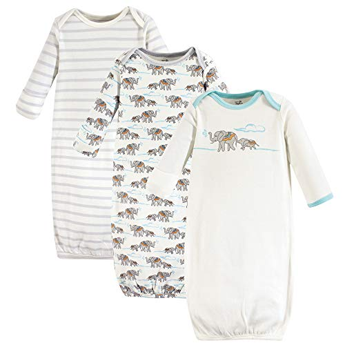 Touched by Nature Baby Organic Cotton Gowns, Cream Elephant, 0-6 Months