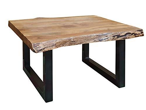 Duisburg Couchtisch mit echter Baumkante, Material Massivholz, Akazie/Beine schwarz, 80 x 80 cm