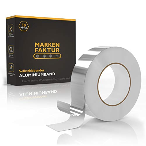 MARKENFAKTUR Aluminium Klebeband [30M] - Alu Klebeband aus echtem Aluminium - Aluband Selbstklebend inkl. Praktischer Aufbewahrungsbox - Verbesserte Version