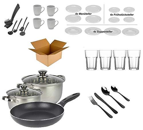 """Haushalt Starterset """"4 Personen"""" - Wohneinrichtung Starterpaket - Einrichtungspaket - (Küche, Besteck, Geschirr)"""