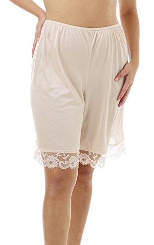 Underworks Pettipants Nylon Culotte Slip Bloomers Split Skirt 9-inch Inseam 2X-Large Beige