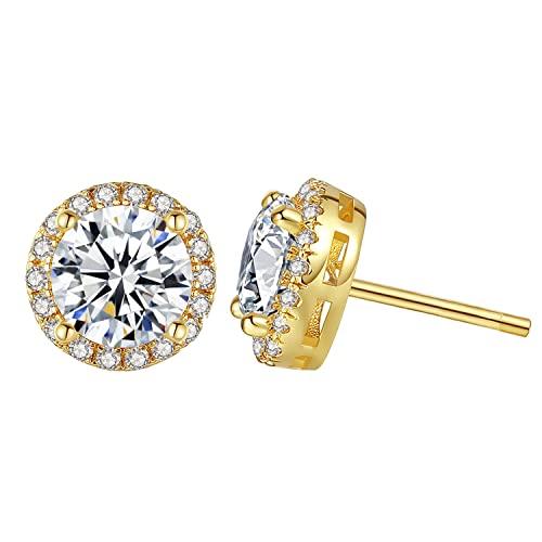 Cubic Zirconia Stud Earrings for Women - 14k Gold Plated Halo Hypoallergenic Earrings, Round Cut CZ Stud Earrings for Jewelry Gift