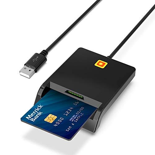 USB Chipkartenleser, SmartCard Reader, Elektronischer ID Kartenleser, CAC Smart Card Reader, SIM Kartenleser, unterstützt Smart Cards und SIM Cards, Windows 10 und Mac OS kompatibel