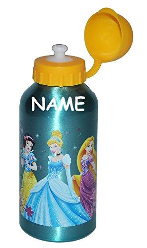 alles-meine.de GmbH Trinkflasche Disney Princess incl. Name - auslaufsicher - Edelstahl / Aluminium 600 ml - für Kinder Aluflasche / Fahrradflasche - Flasche Mädchen Prinzessin R..