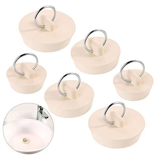 MEEQIAO 6 Stück Abflussstopfen Waschbecken/mit Aufhänge Ring/ 3 Größen/Gummi Waschbeckenstopfen/Stopfen Abflussbecken/Ventilstopfen/für Badewanne/Küche und Bad/Beige (6)