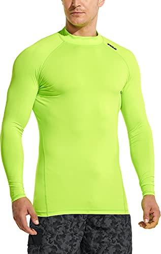 TSLA Camiseta de natación para hombre con protección UPF 50+ de manga larga, protección contra rayos UV y SPF, secado rápido, para surf de agua, Hombre Niños, Msr19 1pack - Neon Yellow, medium