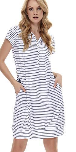 dn-nightwear TM.8061, camicia da notte da donna, 100% cotone Blu a righe. S