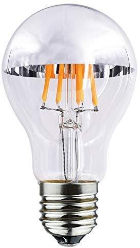 Bulbright Bombilla LED de espejo A60 plateada con filamento E27 Edison, equivalente a 80 W, 8 W, 750 lúmenes, 2700 K blanco cálido, bombilla de filamento LED, 220 V CA, para lámpara de techo o pared