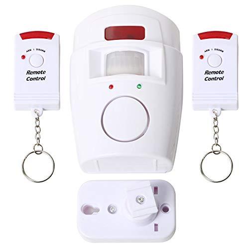 Inviero - Alarma de seguridad con sensor PIR de movimiento infrarrojo inalámbrico de 105 dB - Funciona con pilas - Incluye 2 mandos a distancia ideales para hogares, oficinas, caravanas, tiendas y más