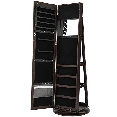 SONGMICS 360° Rotatable Jewelry Organizer Cabinet Armoire, Lockable, Higher Mirror, Brown UJJC62BR