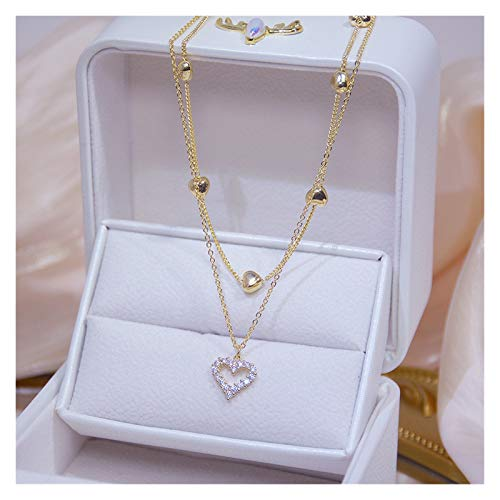 TFGUOqun Fashion 14k real gold double heart necklace shiny zircon ladies clavicle chain elegant charm wedding pendant jewelry For feminine decoration (Gem Color : Necklace)