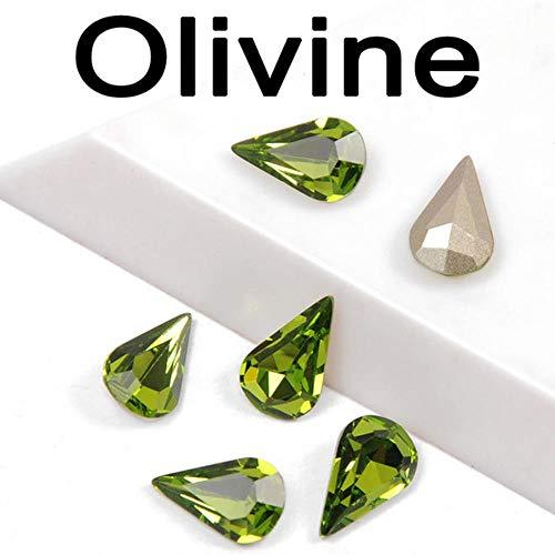 Materiaal van gekleurd kristal, op strass-stenen van glas en pera-kristallen met kant om zelf te maken, jurk voor handtassen, olijf, 8 x 13 mm, 12 stuks