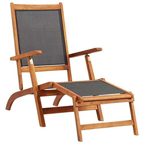 vidaXL Solid Acacia Wood Sun Lounger Waterproof Adjustable Textile Chaise Lounge Daybed Outdoor Campsite Patio Garden Backyard Black
