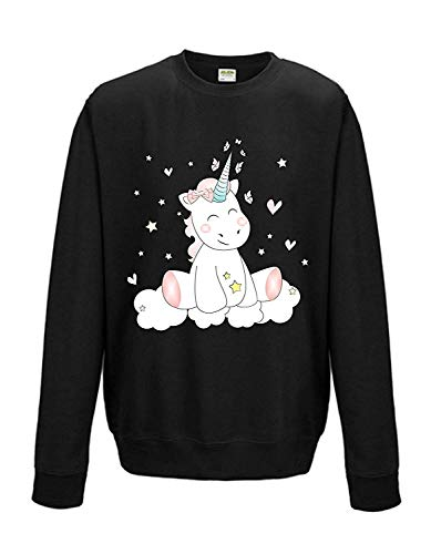 Livingstyle & Wanddesign Sweat Pull Unisexe Licorne Cutie - Noir, XL