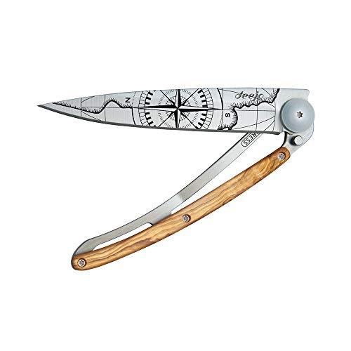 Couteau de Poche Pliant Ultra léger avec Clip Ceinture - Version Olivier 37g - Lame Fine et tranchante - Motif Terra Incognita - en Acier Inoxydable - Design élégant et Moderne