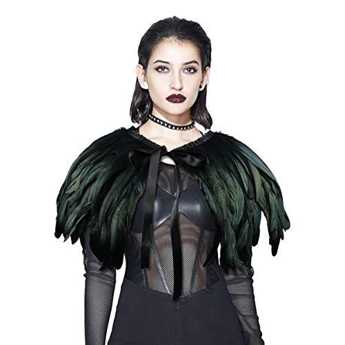 ANSUG Mode Schwarzer Feder-Schal, Gothic Natural Cape Wrap Hand Nähen Choker Kragen Tücher für Cocktailkleid Party Bühne