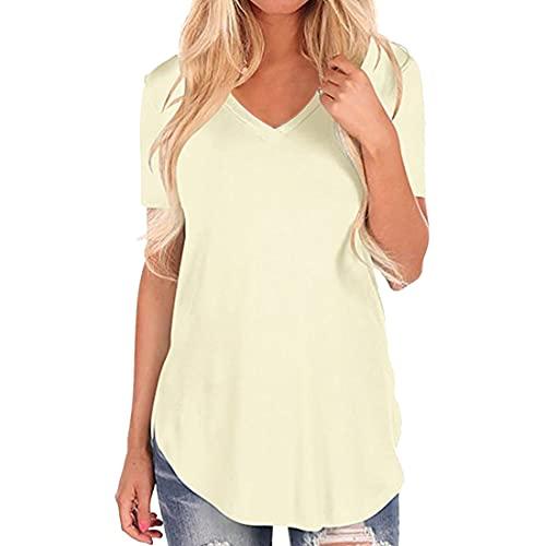 Camiseta de Mujer Tops de Manga Corta Camiseta de Color sólido con Cuello en V Dobladillo Largo Casuales de Verano básica Camiseta Tops de Manga Corta Blusa de Moda de Color sólido Camisas de Mujer