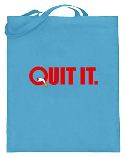 Schuhboutique Doris Finke UG (haftungsbeschränkt) Quit it - quit smoking - non-smokers - Jutebeutel (mit langen Henkeln) -38cm-42cm-Hellblau