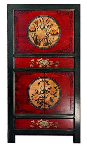 OPIUM OUTLET Armario, Comoda Alta, Chino, Coloreado Asiatico Vintage Oriental Madera, para Dormitorio y Salon, Rojo-Negro