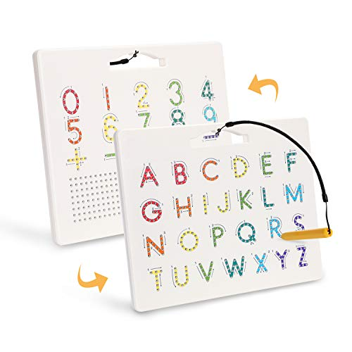 Meinkind Magnetic Drawing Board, Double-Side Magnetic ABC Learning Board, Magnetic Alphabet Letter Tracing Board Educational Montessori Uppercase & Arabic Numerals Board for Toddlers Preschoolers Toy