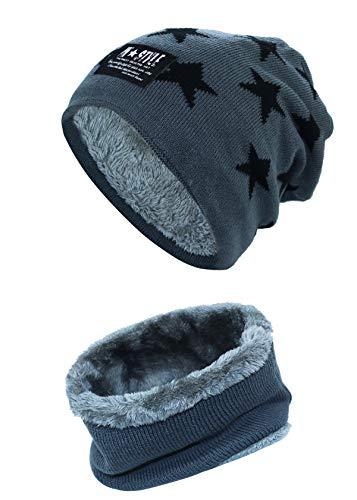 Momoon Dicke Beanie Hut +Schal Set Winter Warmen Schnee Knit Skull Cap für Kinder Jungen Mädchen(Suitable for 6-14, Stern dunkelgrau, one size(fit teenager 6-14)