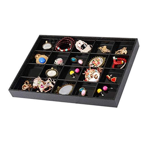Soporte de exhibición de reloj de joyería con 20 compartimentos, bandeja organizadora para pendientes