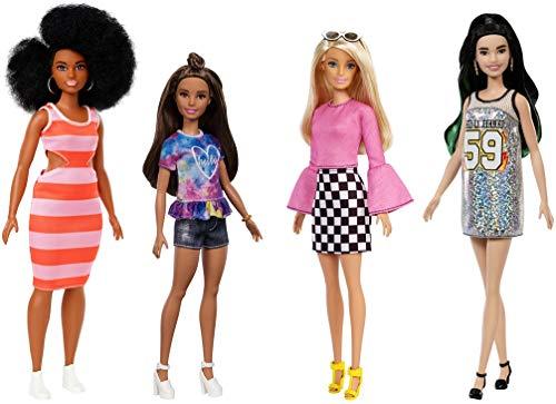 Barbie Fashionistas coffret 4poupées mannequin #104 #112 #105 #110, jouet pour enfant, GBK91