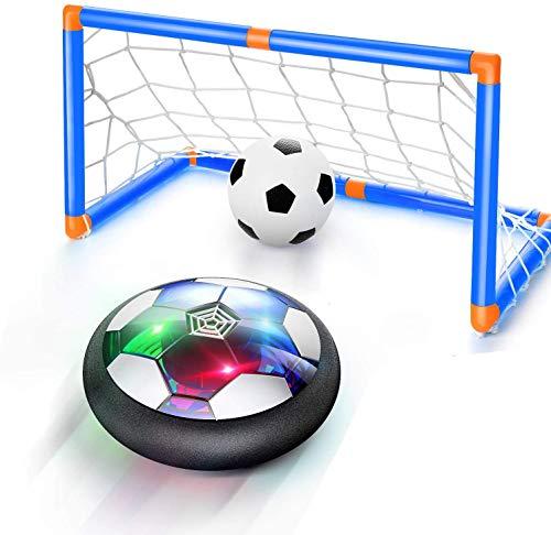 FancyWhoop Air Power Football Kinderspielzeug Fußball Wiederaufladbar Air Soccer Ball mit LED Beleuchtung & Tor Schwebende Fußball für 3-12 Kinder Junge Mädchen Geschenk
