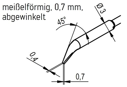 Ersa Entlötspitzenpaar für Lötstationen i-Con Vario 2 und 4 mit Entlötpinzette Chip Tool Vario meißelförmig 0,7 mm, 0462MDLF007